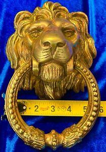Large Vintage Brass Lions Head Ornate Architectural Arts Door Knocker No Reserve