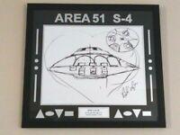 "Bob Lazar Signed Area 51   S-4   ""Sport Model"" UFO Print 24 x 26 Ancient Aliens"