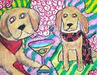 GOLDEN RETRIEVER Drinking a Martini Dog Pop Folk Vintage Art 8 x 10 Signed Print