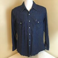 Vtg Wrangler Mens Shirt Denim Pearl Snap Western Cowboy Blue 16 34 USA Made FS!