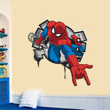 Spiderman 3D Wall Stickers For Kids Rooms Boys Bedroom Cartoon Home Decoration
