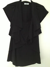 new RRP$430 MOSCHINO BLACK 100% SILK FRILL TOP  BLOUSE TOP 14 /12 last