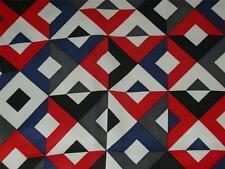 "Geometric silk fabric 100% red white blue black woven gab style By the yard x45"""