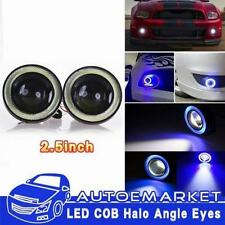 1 Pair Angel Eye COB Blue Halo Ring LED DRL Projector Lens Fog Driving Light SUV