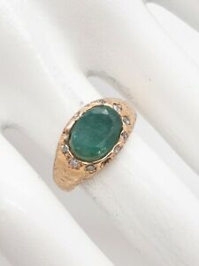 Antique Victorian $4000 4ct Colombian Emerald Diamond 10k Yellow Gold Ring Band
