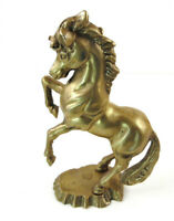 """Vintage Solid Brass Horse Figurine Statue 9"""" Tall Heavy"""