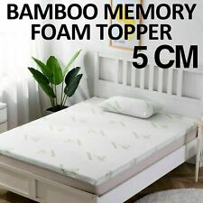 BAMBOO MEMORY FOAM MATTRESS TOPPER THICK WITH ZIPPED COVER 5CM THICKNESS