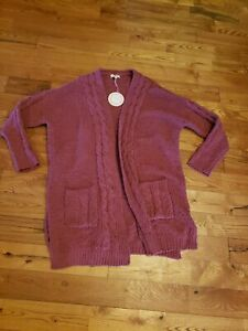 NWT Women's Berry UMGEE Soft Knit Open Front Cardigan Size Small S