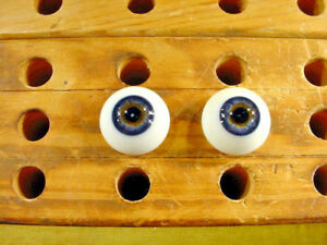a pair vintage solid doll glass eyes 20 mm for bisque doll doctor age1910 A 6227