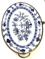 VINTAGE MEISSEN BLUE ONION PATTERN WARMING PLATE TRAY COMPLETE MADE IN GERMANY