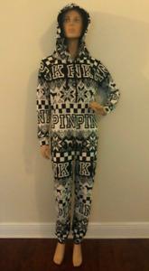 PINK Victorias Secret Black White Fair Isle One-Piece sleep Sherpa Hood x-small