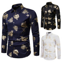 Fashion Men's Slim Fit Gold Flower Gilding Shirts Long Sleeve Casual Shirt