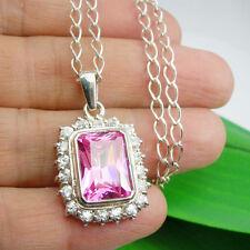 12.48 carat Pink CZ Gemstone Halo Pendant Neckalce Genuine 925 Sterling Silver