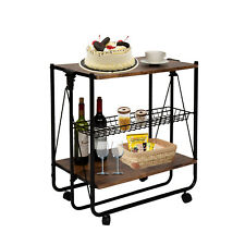 Rolling Bar Cart Folding Mobile Storage Organizer Shelves Kitchen Dining Room