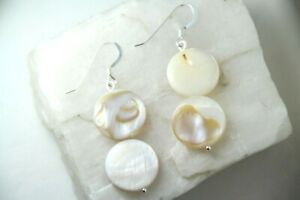 """Shell White Mother of Pearl 15mm Flat Coin .925 Sterling Silver Earrings 1 3/4"""""""