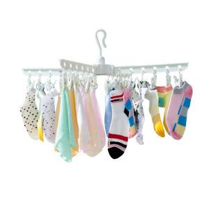 24 Clips Household Sock Folding Hanger Plastic Underwear Clothes Drying Rack