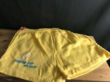 NEW VINTAGE MALIBU SURFING CUP '86 YELLOW COTTON/POLY Shorts Size M (30-32) NOS