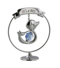 Tono argento Battesimo Baby Shower regalo con cristallo blu DUCK-è un ragazzo
