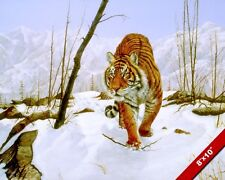 WILD TIGER IN WINTER SNOWY WILDERNESS CAT ANIMAL PAINTING ART REAL CANVAS PRINT