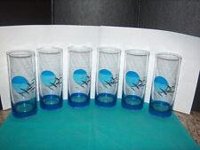 PANACHE DRINKING GLASSES / ICE TEA GLASSES TALL SET OF (6) W/SEAGULS & SUN/MOON
