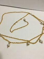Women's Gold Tone With Pearls Adjustable Chain Belt