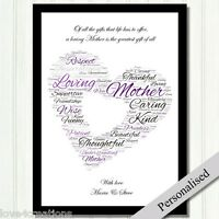 Mum Mother Personalised Gift Word Cloud. Keepsake for Birthdays Xmas. PRINT ONLY