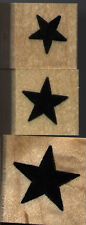 """mounted rubber stamps  Solid Star set   1 1/4"""" X 1 1/4"""",   1"""" X 1""""   3/4"""" X 3/4"""""""