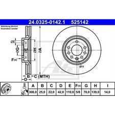 ATE 2x Bremsscheiben belüftet beschichtet 24.0325-0142.1