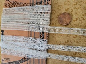"""2 Very Fine French Antique Lace Valencienne Trim 3+ yards .25"""" cotton narrow"""