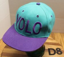 YOLO (YOU ONLY LIVE ONCE) HAT GREEN/PURPLE SNAPBACK VERY GOOD CONDITION D8