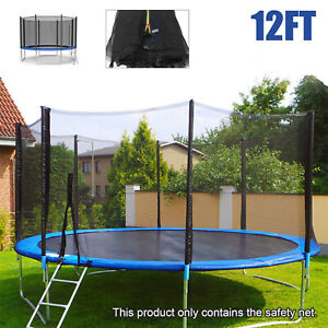 12FT 8 Pole Replacement Trampoline Safety Net Enclosure Outside Spring Cover