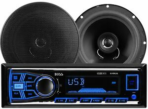 Car Stereo Bluetooth Wireless AM FM Radio Mp3 USB SD with 2 Way Speaker Package