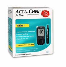 Accu Chek Active Blood Glucose Meter Kit Multicolor Vial of 10 strips free