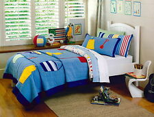 Sheridan Junior Single Bed Quilted Comforter/ Coverlet Pillowcase Set BEACH BLUE