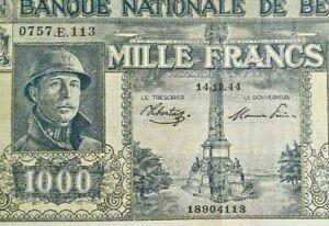 1000 Francs Frank 1944 Belgique Belgïe P.128 Sontag Theunis Belgium Banknote