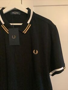 Fred Perry Xl Abstract Black Polo Shirt