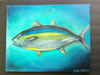 Original Acrylic Painting Beach Tuna Fish Marine Life 16x20 Stretched Canvas Art