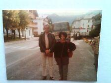 Vintage 80s Photo Swiss Alps Switzerland Black Woman & Friend In Front Tour Bus