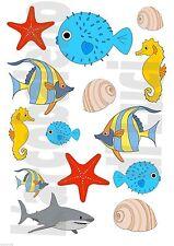 14 ADESIVI WINDOW STICKERS FINESTRA PESCI ACQUARIO 2 FISH AQUARIUS FINESTRE NEW!