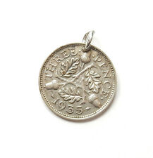 Antique George V Silver 1935 THREE PENNY PENCE 3P COIN Charm Pendant 1.5g