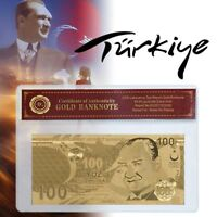 WR Turkey 100 Lira Gold Foil Banknote COA Sleeve Pack 2019 Best Collector Gifts