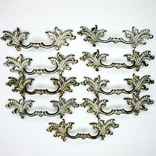"Vintage French Provincial Drawer Pulls 9 Handle Ornate 8"" Cast White Brass C 194"
