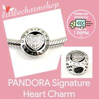 New Authentic Genuine PANDORA Silver Signature Heart Charm - 796218CZ RETIRED