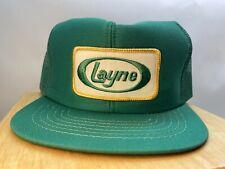 Vintage Snapback Hat Cap LAYNE Trucker Farmer USA Green Mesh Back
