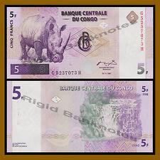 Congo Democratic Republic 5 Francs, 1997 P-86 White Rhino Unc