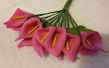 12x calla lilly deep pink foam flowers. 9cm approx. * UK SELLER *