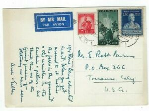 1949 Rome Italy,Airmail to Torrance CA, #475, #487, #527
