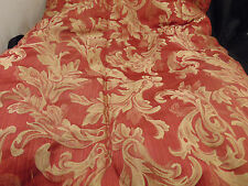 "Bedspread red gold tufted edge braiding 80"" x 84"" contemporary style master bed"