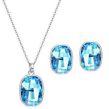 Made with Swarovski Crystals Necklace Pendant Stud Earrings Blue Jewellery Set
