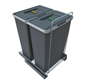 Pull-out Waste Bin Recycling - Soft Close  Large 2 x 35l container - Kitchen Bin